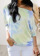 Tie Dye Slash-Neck Long Sleeve T-Shirt Tee