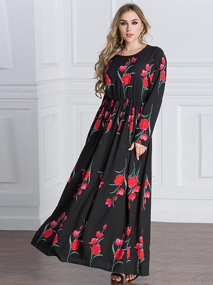 Bohemian Floral Print Long Sleeve O-neck Women Maxi Dresses