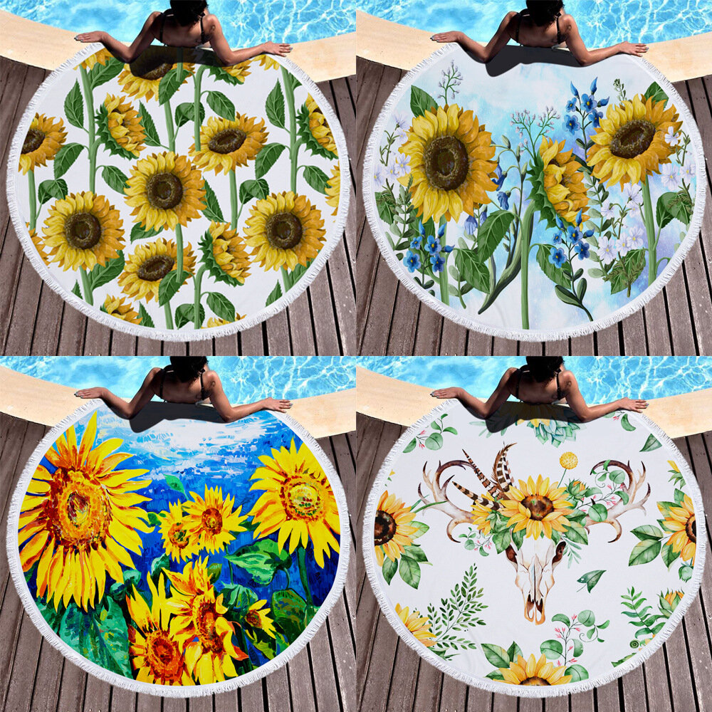 Sunflower Round Beach Towel Blanket Hawaii Hawaiian Tropical Large Microfiber Terry Beach Roundie Palm Circle Picnic Car