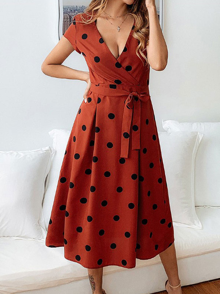 Milanoo Women Red Polka Dot Midi Dress Vintage Dress Deep V Neck 1950s Oversized Short Sleeves Swing Dress