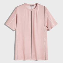 Maenner T-Shirt mit kurzen Ärmeln und Nadelstreifen