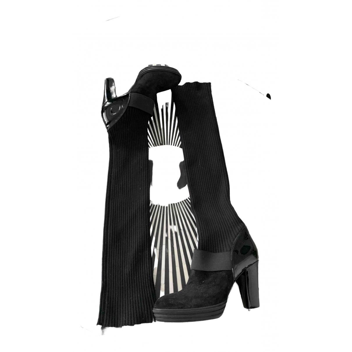 Hogan \N Black Suede Boots for Women 37.5 EU