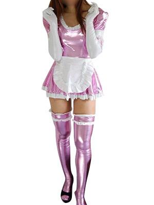 Milanoo Disfraz Halloween Rosa Vestido Criada Sexy Metalico Brillante Disfraz Halloween