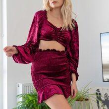 Lantern Sleeve Crop Velvet Top & Shirred Skirt Set