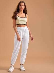 Contrast Binding Cami Top & Sweatpants PJ Set