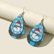 Christmas Snowman Print Water-drop Earrings