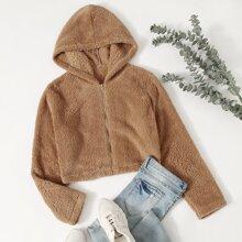 Solid Zip-Up Hooded Teddy Jacket