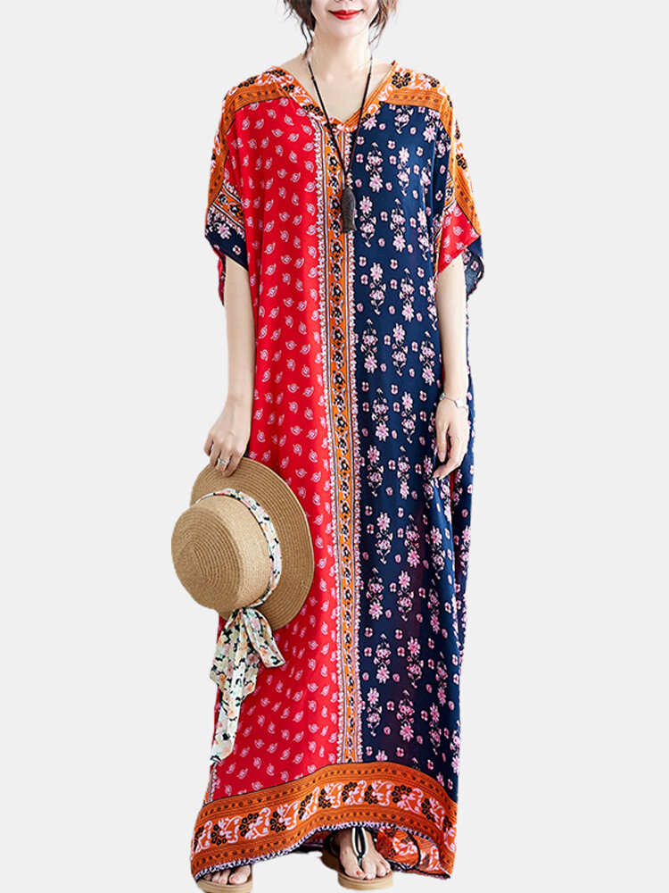 Ethnic Pattern Contrast Color Maxi Dress For Women