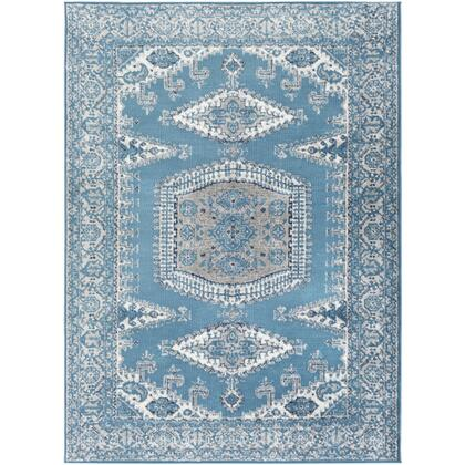 Monte Carlo MNC-2333 67 x 9 Rectangle Traditional Rug in Sky Blue  Light Gray  Charcoal  Navy
