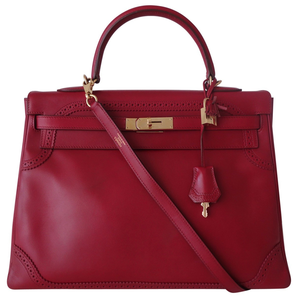 Hermès Kelly 35 Red Leather handbag for Women \N