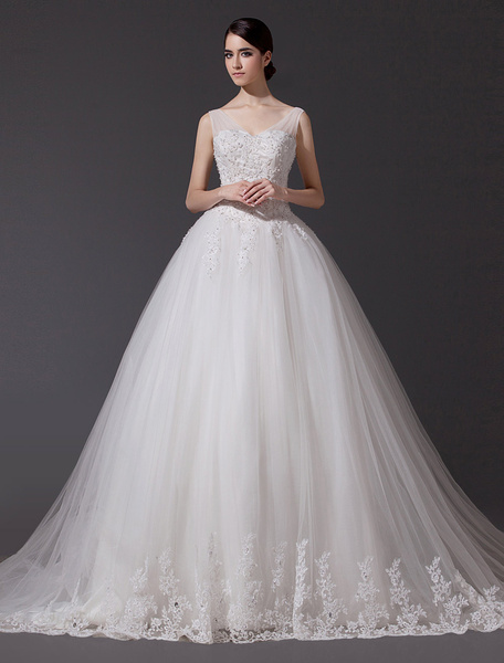 Milanoo Wedding Dresses V Neck Lace Applique Bridal Gown Sequin Beading Illusion Long Cathedral Train Bridal Dress