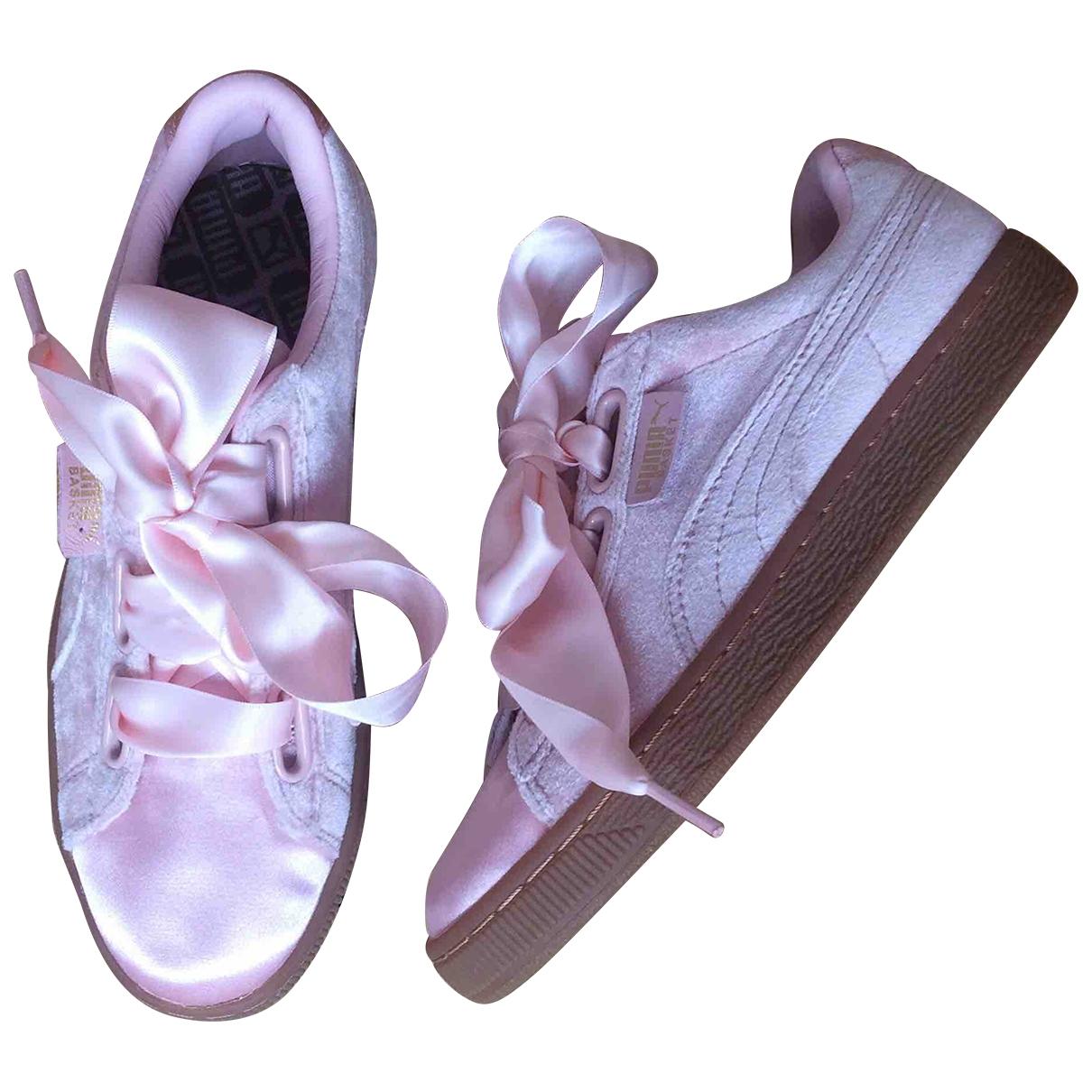 Puma - Baskets   pour femme en velours - rose