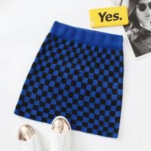 Checker Ribbed Knit Skirt