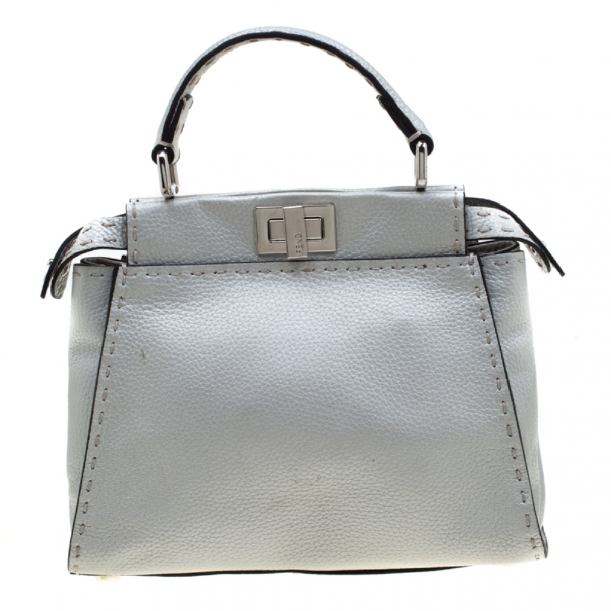 Fendi Peekaboo Silver Leather handbag for Women \N