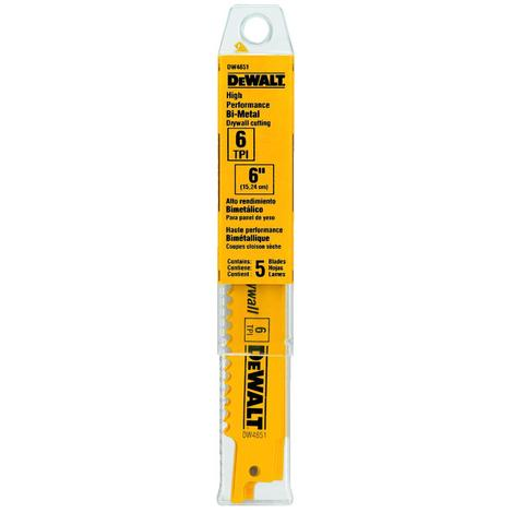 DeWalt 6-in 6Tpi Plaster Cutting Bi-Metal Reciprocating Saw Blade (5 pack)