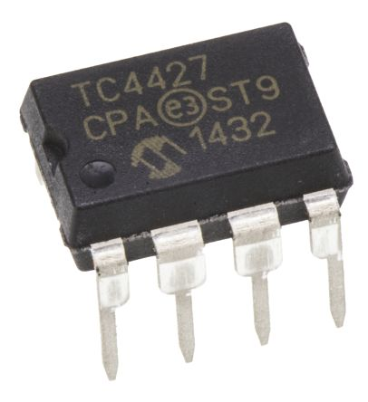 Microchip TC4427CPA Dual Low Side MOSFET Power Driver, 1.5A 8-Pin, PDIP