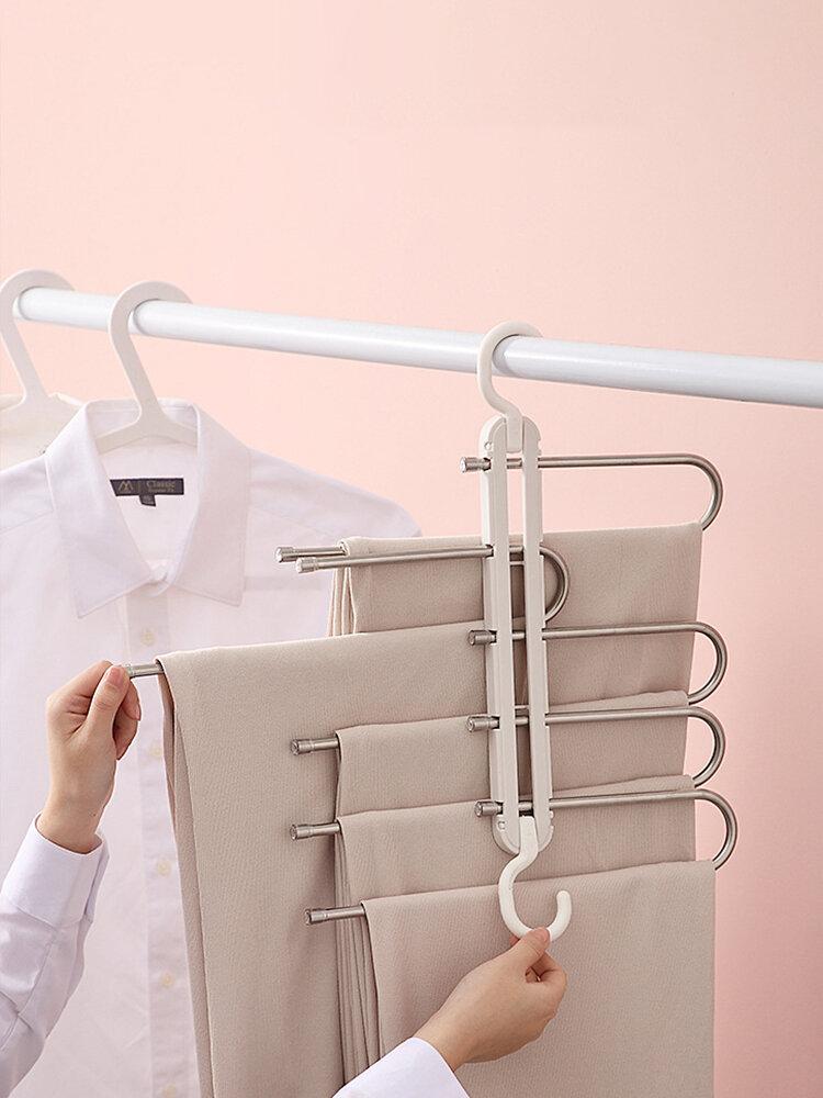 1Pc Multifunctional Seamless Retractable Folding Multi-layer Pants Rack Household Magic Pants Clip Wardrobe Storage Pant