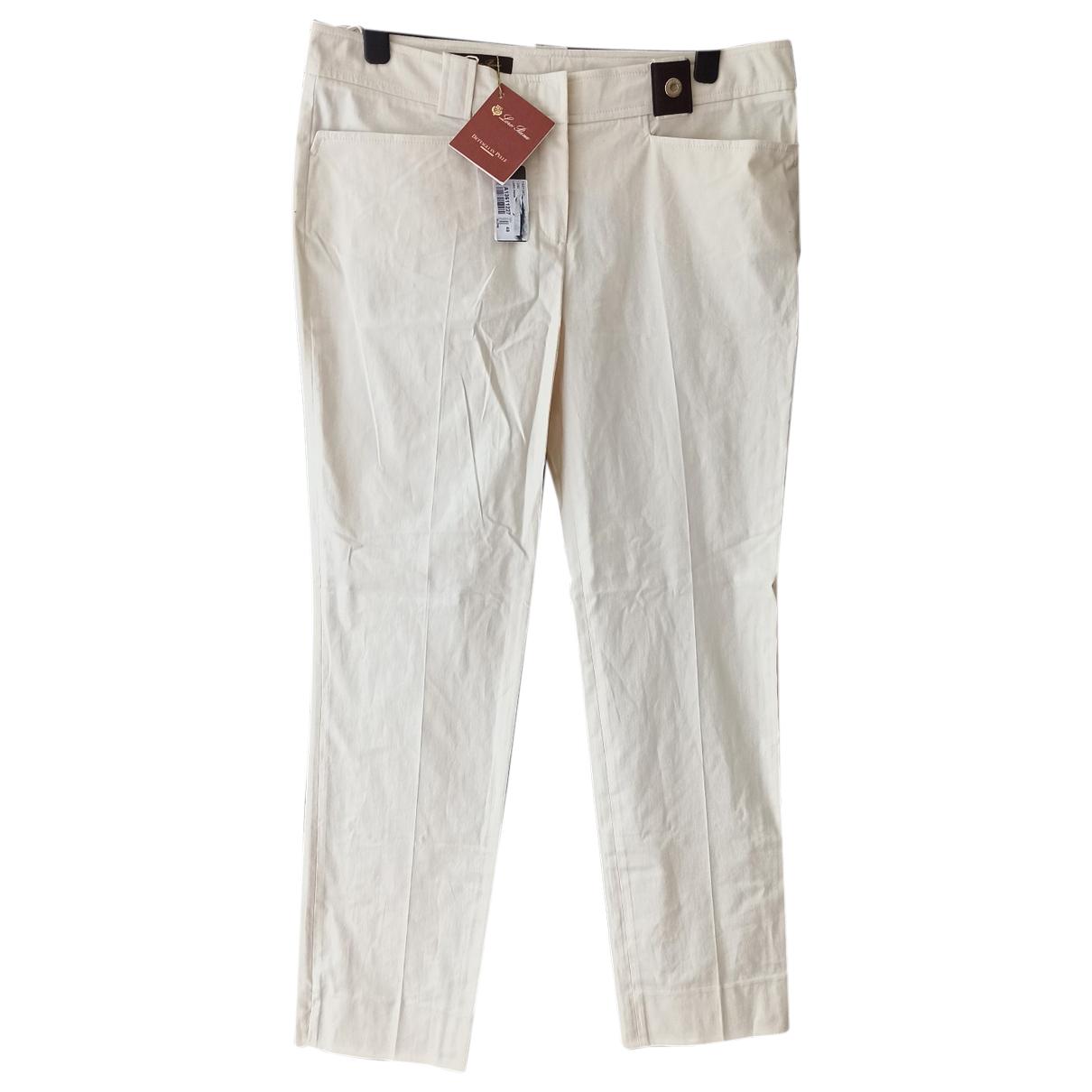 Loro Piana N Beige Cotton Trousers for Women 48 IT