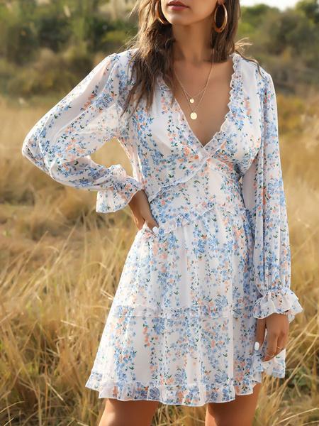 Milanoo Boho Dress Long Sleeves Floral Print Frills Beach Dress