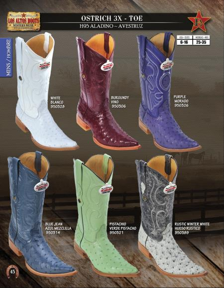 3X Toe Genuine Ostrich Mens Western Cowboy Boots Diff. Colors/Sizes