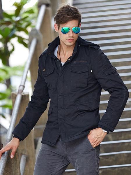 Milanoo Men's Military Jacket Drawstring Hooded Lined Cargo Jacket