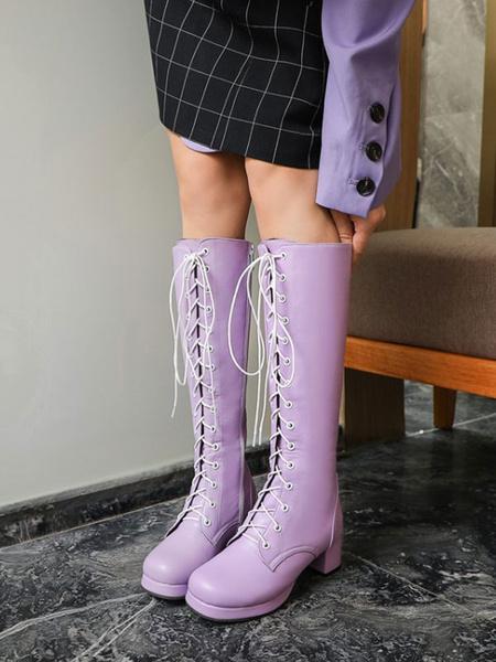 Milanoo Classic Lolita Boots PU Leather Round Toe Deep Brown Lolita Shoes