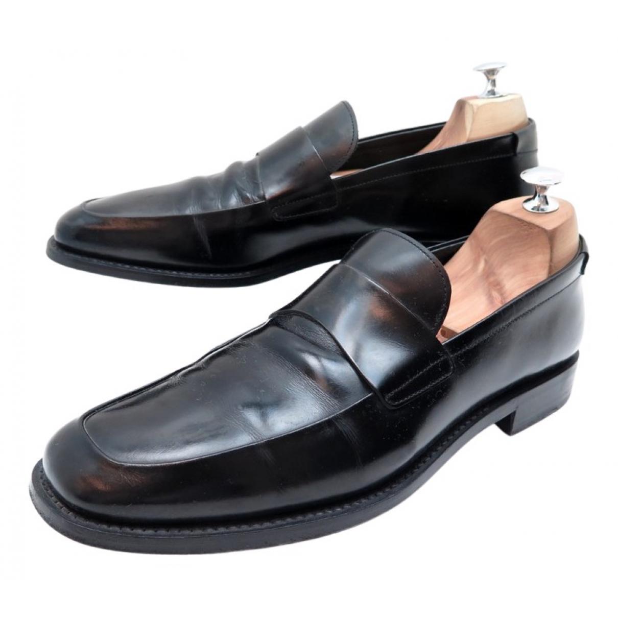 Prada N Black Leather Flats for Women 43 EU