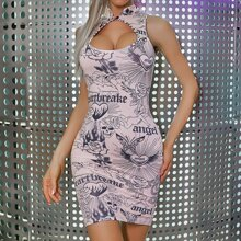 Angel & Skull Print Mandarin Neck Bodycon Dress