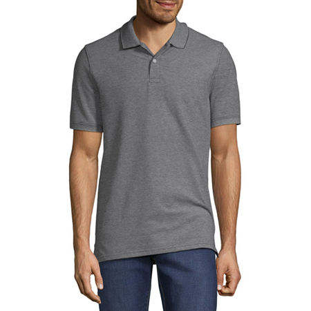 St. John's Bay Essential Stretch Mens Short Sleeve Polo Shirt, Medium , Black