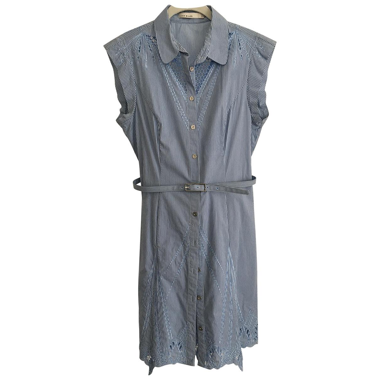 Karen Millen \N Blue Cotton dress for Women 14 UK