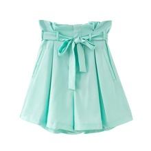 Paper Bag Waist Shorts With Belt