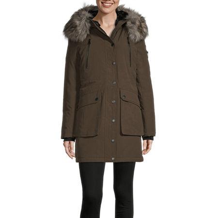 BCBGMAXAZRIA Hooded Heavyweight Puffer Jacket, Small , Green