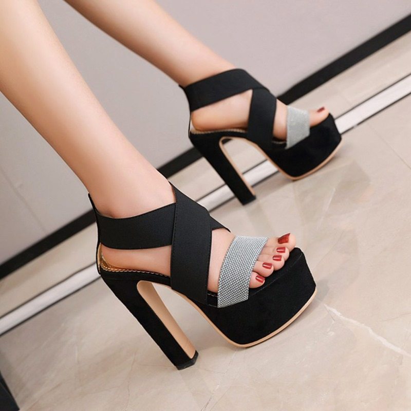 Ericdress Chunky Heel Open Toe Slip-On Platform Sandals