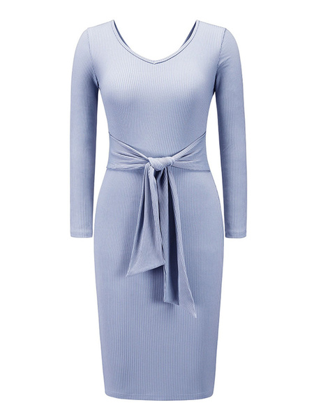 Milanoo Bodycon Dresses Blue Long Sleeves Lace Up Casual V-Neck Midi Dress Sash Sheath Dress