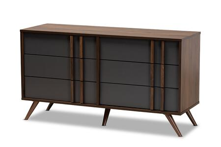 LV15COD15231-COLUMBIA/DARK GREY-6DW-DRESSER Baxton Studio Naoki Modern and Contemporary Two-Tone Grey and Walnut Finished Wood 6-Drawer Bedroom
