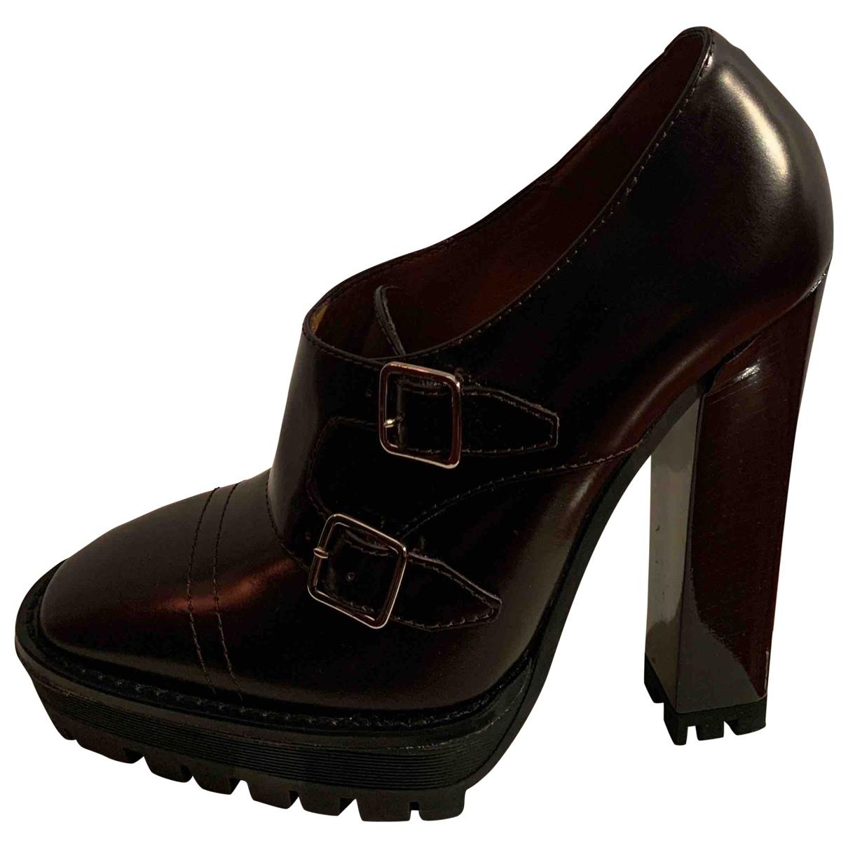 Burberry - Escarpins   pour femme en cuir - bordeaux