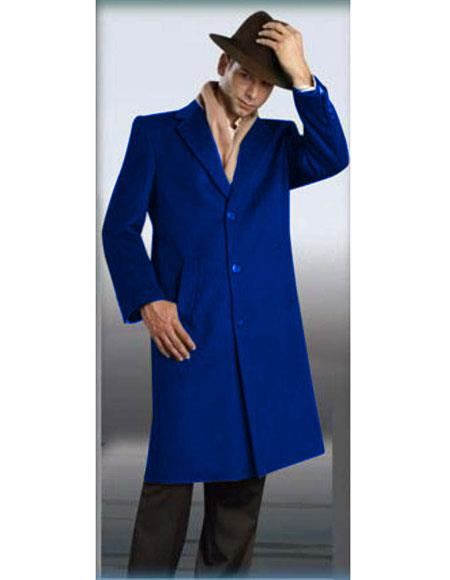 Mens Royal Blue Authentic Alberto Nardoni Brand Full Length Topcoat