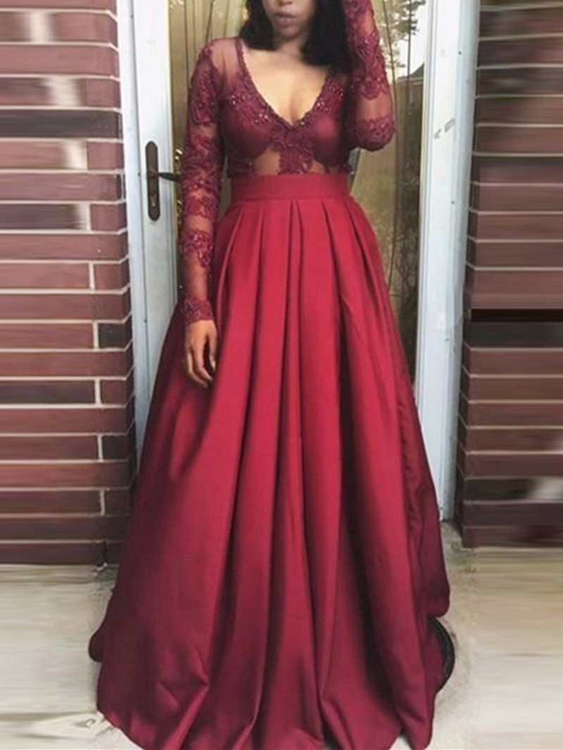 Ericdress Sexy Deep V Neck Long Sleeve Lace Prom Dress