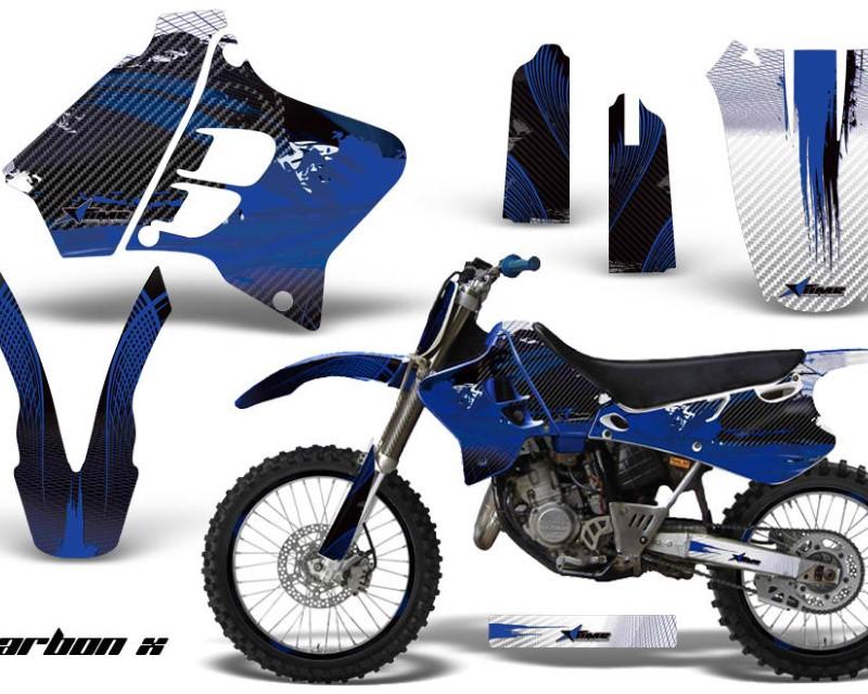 AMR Racing Graphics MX-NP-YAM-YZ125-YZ250-93-95-CX U Kit Decal Sticker Wrap + # Plates For Yamaha YZ125 YZ250 1993-1995 CARBONX BLUE