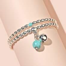 Armband mit Tuerkis Dekor und Perlen