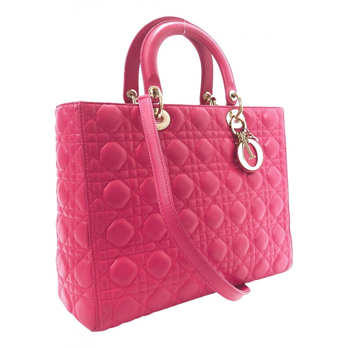 Dior Lady Dior Pink Leather handbag for Women N
