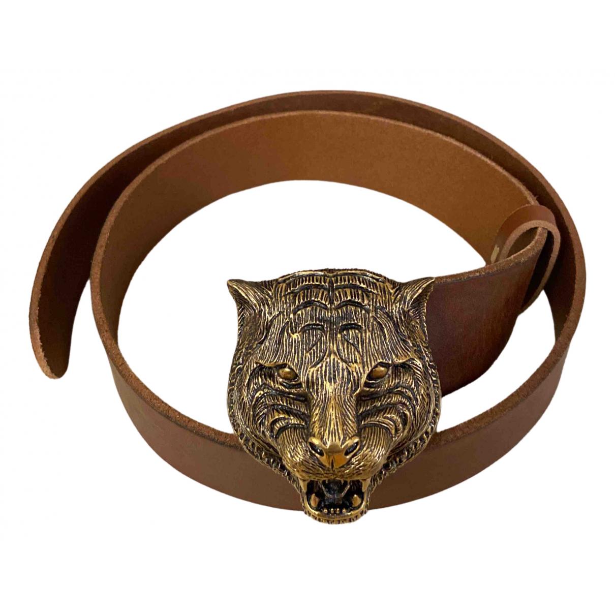 Gucci Feline Buckle Brown Leather belt for Women 80 cm