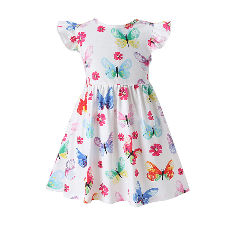 Girl's Butterfly Print Flying Sleeves O-neck Casual Dress For 2-8Y