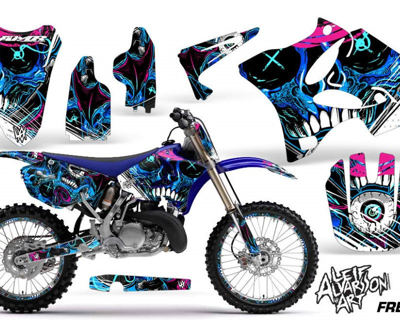 AMR Racing Graphics MX-NP-YAM-YZ125-YZ250-02-14- Kit Decal Sticker Wrap + # Plates For Yamaha YZ125 YZ250 2002-2014áHATTER BLACK BLUE