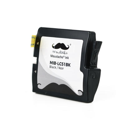 Compatible Brother LC51BK - LC51 Black Ink Cartridge by Moustache, 3 Pack