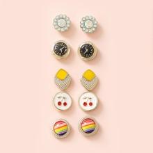 5pairs Girls Rhinestone Decor Clock Stud Earrings