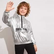 Boys Slogan Graphic Flap Detail Half Placket Metallic Jacket