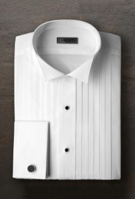 Alexander White Pleated Wingtip Tuxedo Shirt