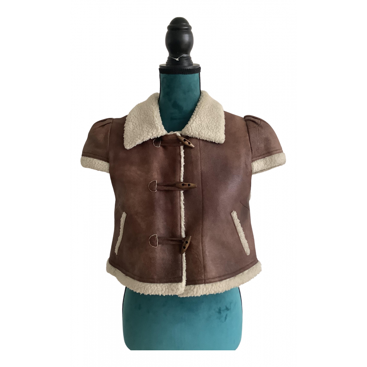 Non Signé / Unsigned N Brown Leather jacket for Women M International