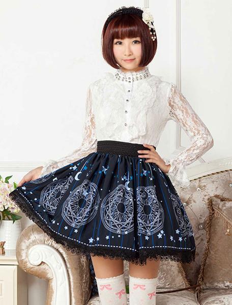 Milanoo Azul profundo impreso poliester Lolita falda para niñas